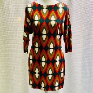 Tracy Negoshian Geo-Print 3/4 slv Mini Dress, Sz S